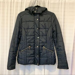 Daisy Navy Blue Quilted Hood Bomber Women Jacket
